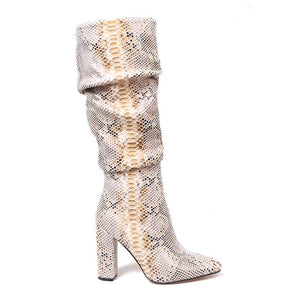 Colorful Snake Skin Boots Women High Heel Thick Boot snakeskin Pointed Toe Zip Shoes Female Slouch Boots Pleated Winter