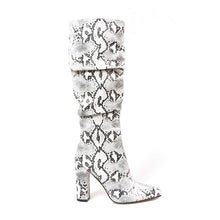 Load image into Gallery viewer, Colorful Snake Skin Boots Women High Heel Thick Boot snakeskin Pointed Toe Zip Shoes Female Slouch Boots Pleated Winter
