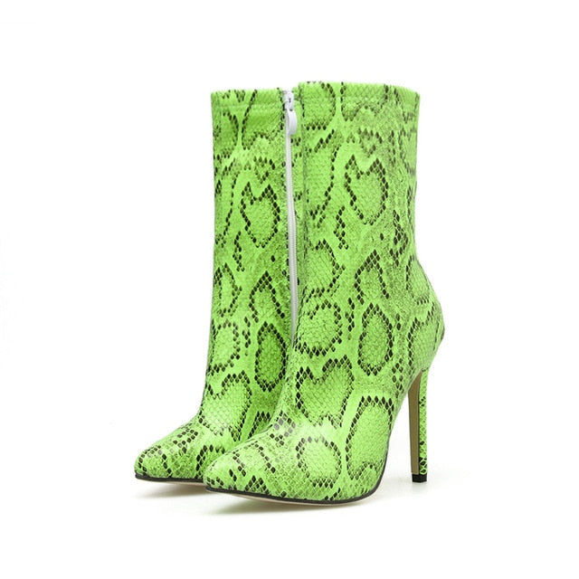New Women 11.5cm High Heels Boots Fetish Pointed Toe Boots Serpentine Zip Ankle Boots Prom Autumn Snake Print Stripper Shoe