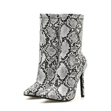 Load image into Gallery viewer, New Women 11.5cm High Heels Boots Fetish Pointed Toe Boots Serpentine Zip Ankle Boots Prom Autumn Snake Print Stripper Shoe