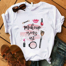 Load image into Gallery viewer, Makeup Is My Art Shirt Lady Vogue Lipsticks Nail Polish Kiss T Shirt Women Cotton O-Neck Casual T-shirt Hipster Holiday Gift