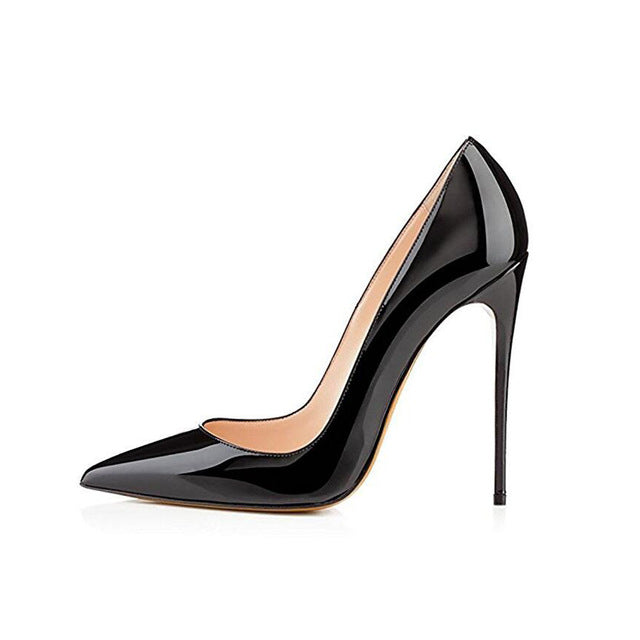 Women Pumps Brand High Heels Black Patent Leather Pointed Toe Sexy Stiletto Shoes Woman Ladies Plus Big Size 11 12