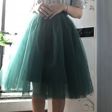 Load image into Gallery viewer, 6Layers 65cm Fashion Tulle Skirt Pleated Tutu Skirts Womens Lolita Petticoat Bridesmaids Vintage Midi Skirt Jupe Saias faldas