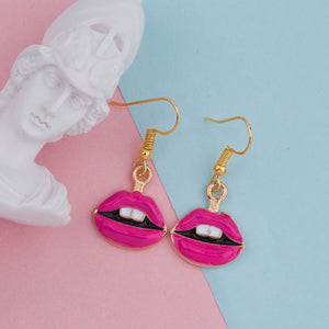 "Makeup Earrings Gold Color Fuchsia Lips Enamel Trendy Fashion Jewelry for Women 37mm(1 4/8"") x 17mm( 5/8""), 1 Pair"
