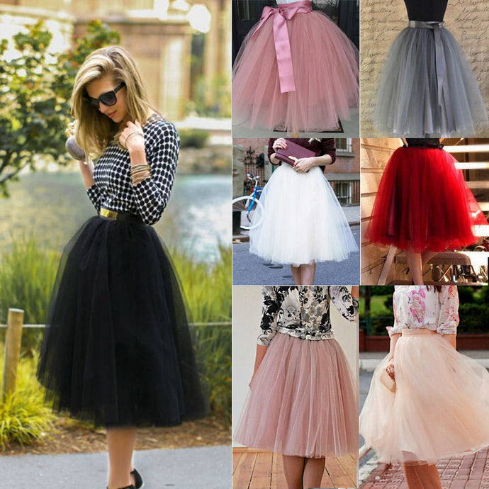 7 Layers Midi Tulle Skirt for Girls Fashion Tutu Skirts Women Solid Lace Ball Gown Party Petticoat Lolita faldas saia jupe