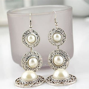 New Fashion Elegant Created Big Simulated Pearl Long Earrings Pearls String Statement Dangle Earrings For Wedding Party