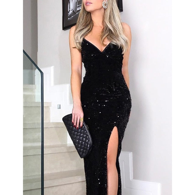 Sleeveless long sequin dress Women high slit spaghetti strap dresses Sexy V neck club party dress Maxi black sequined vestidos