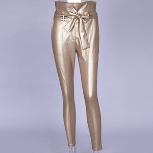 Gold Black Belt High Waist Pencil Pant Women Faux Leather PU Sashes Long Trousers Casual Sexy Exclusive Design Fashion