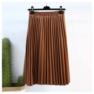 Autumn fashion new PU leather pleated skirt elastic high waist all-match female's bottoms