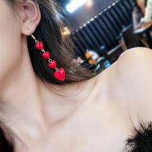 Load image into Gallery viewer, Fashion Elegant Red Black Plush Ball Drop Earrings/Pearl Long Earrings Gift for Wedding Party