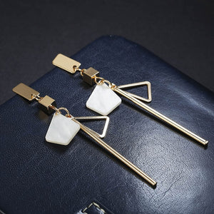 Korean Style Simple Design Earrings For Women Girls Red Stone Dangle Earrings Geometric Earrings