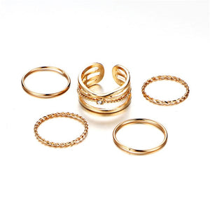 8 Pcs/Set Simple Design Round Gold Color Rings Set For Women Handmade Geometry Finger Ring Set Female Jewelry Gifts