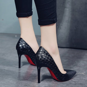 Europe Sexy Women Shoes  Red Bottom High Heels Pumps Spring/Autumn  New Pointed Thin Heels Slip-on Shoes Woman Party Shoes