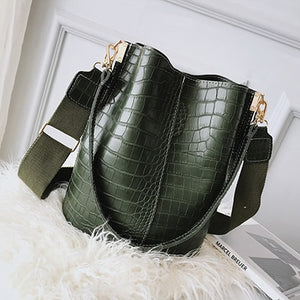 Vintage leather Stone Pattern Crossbody Bags For Women New Shoulder Bag Fashion Handbags and Purses Zipper Bucket Bags