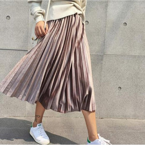 Spring Women Long Metallic Silver Maxi Pleated Skirt Midi Skirt High Waist Elascity Casual Party Skirt Vintage