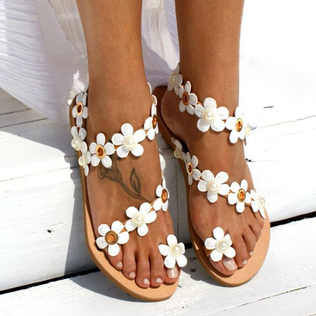 Women Flat Summer Sandals Shoes Ladies Gladiator Sandals Pearl Shoes Flip Flop 44