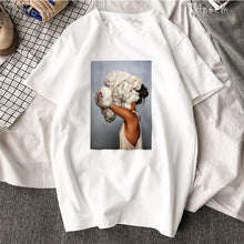 Load image into Gallery viewer, New Cotton Harajuku Aesthetics Tshirt Sexy Flowers Feather Print Short Sleeve Tops & Tees Fashion Casual Couple T Shirt
