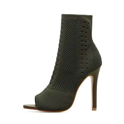 Women's Boots Green Elastic Knit Sock Boots Ladies Open Toe High Heels Fashion Kardashian Ankle Boots Women Pumps