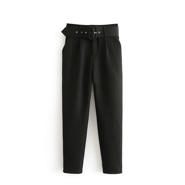 black suit pants woman high waist pants sashes pockets office ladies pants fashion middle aged pink yellow pants 6A22