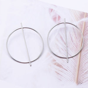 New Fashion Exaggerated Big Circle Round Drop Earrings for Women Studs Gold Color Earring Club Party Jewelry Punk oorbellen