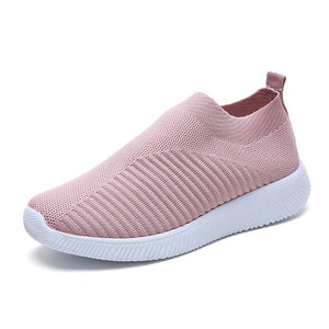 Women shoes knitted slip on female flat shoes tenis feminino casual mesh walking footwear sneakers women vulcanize shoes