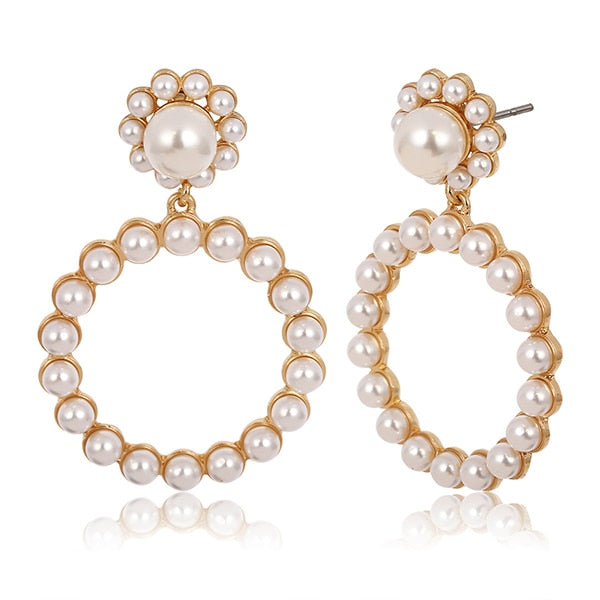 Trendy Round Gold Silver Pearl Earrings for Women Statement Rhinestone Geometric Earrings Wedding Fashion Jewelry Gift