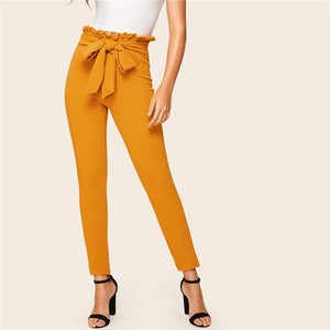 Elegant Paperbag Waist Belted Detail Solid High Waist Pants Women Skinny Frill Trim Elastic Waist Spring Summer Pants
