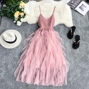 New Women Tulle Dress Summer High Waist Mesh Dress Hem Asymmetrical Pleated Dress Female Slim Fairy Dresses