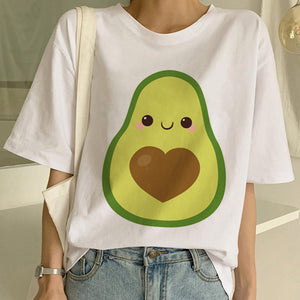 Cartoon Avocado Vegan Short Sleeve Cute T-shirt Womens Small Fresh Casual T Shirt Harajuku Ullzang Tshirt Fashion Top Tee Female