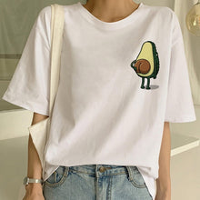 Load image into Gallery viewer, Cartoon Avocado Vegan Short Sleeve Cute T-shirt Womens Small Fresh Casual T Shirt Harajuku Ullzang Tshirt Fashion Top Tee Female