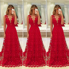 Load image into Gallery viewer, Women Long Lace Dress Evening Formal Party Prom  Gown Formal Evening Party Gowns Dress