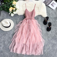 Load image into Gallery viewer, New Women Tulle Dress Summer High Waist Mesh Dress Hem Asymmetrical Pleated Dress Female Slim Fairy Dresses