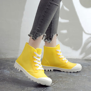 Woman Rain Boots Ankle Boot For Woman Waterproof Solid Color Shoes  Spring Autumn Rain Boots Non-Slip Female Casual Shoes