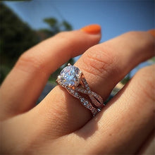 Load image into Gallery viewer, Rose Gold Color 2cts AAA Zircon Engagement Wedding Band Rings For Women Bridal Bijoux Dropshipping