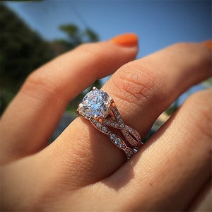 Rose Gold Color 2cts AAA Zircon Engagement Wedding Band Rings For Women Bridal Bijoux Dropshipping