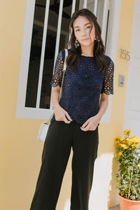 Daisy Crochet Sleeved Top (Navy)