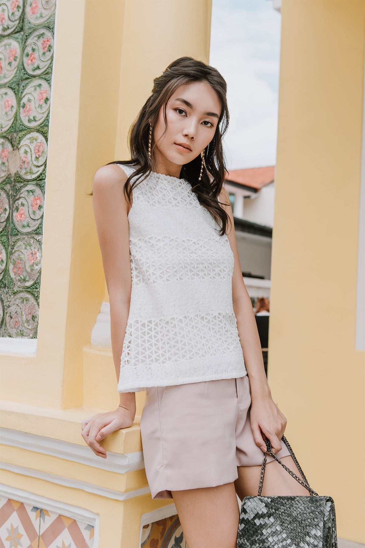 Nikayla Crochet Cut-out Top (White)