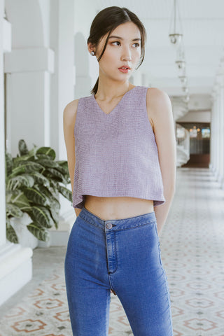 Premium* Theodore Tweed Flare Top (Lilac)