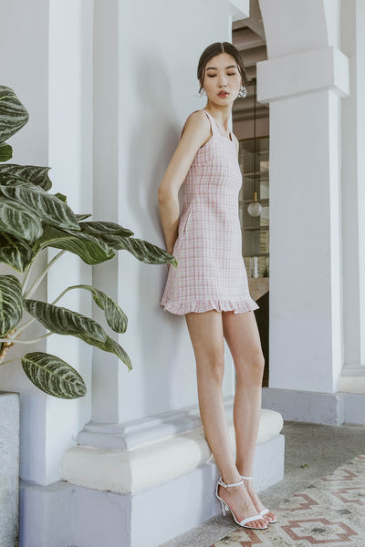 Premium* Scarlett Tweed Ruffle Dress (Pink)