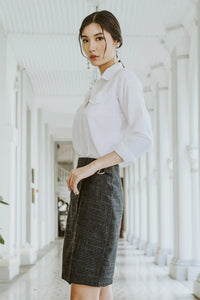 Premium* Evan Tweed Buckle Skirt (Black)