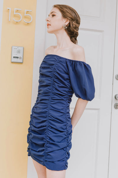Kylie Ruched Dress (Cobalt Blue)