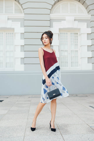 Rumi Colourblock Midi Dress (Maroon)
