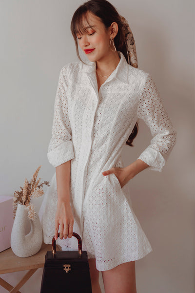 Lilah Eyelet Shirt Dress (White)