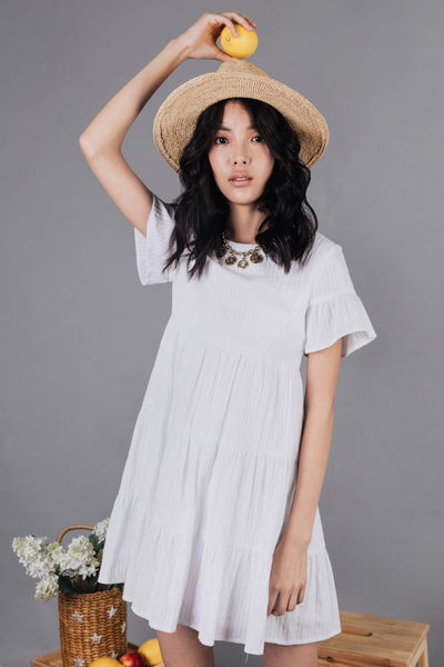 Ashton Round Neck Babydoll Dress (White) - L