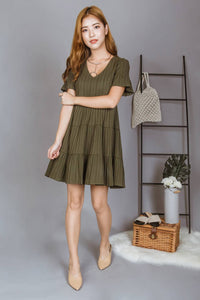 Ashton V Neck Babydoll Dress (Olive)