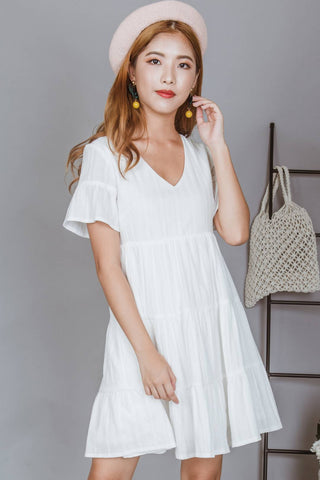Ashton V Neck Babydoll Dress (White)