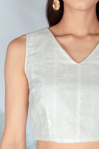Adelaide Crochet V-neck Top (White)