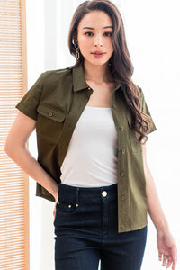 Alexa Button Down Utility Top (Olive)