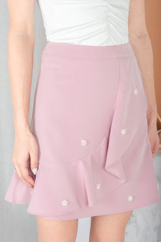Ara Beaded Ruffle Skirt (Dusty Pink)