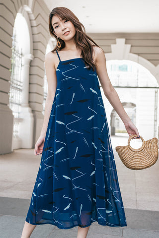 Arella Print Tent Dress (Navy)